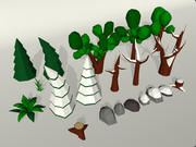 Laag poly natuur 3d model