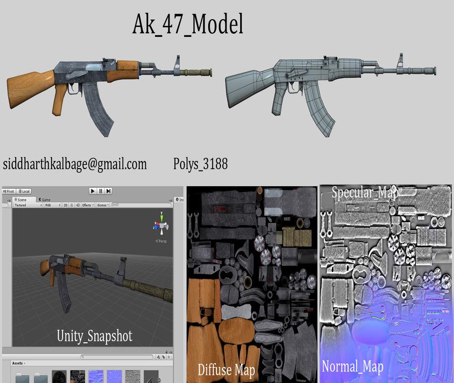 AK47枪 royalty-free 3d model - Preview no. 2