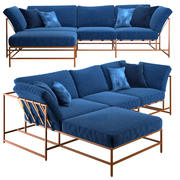 Winkelsofa Indigo Denim und Copper Sectional 3d model