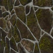 Parede de pedra ou terra Tileable com musgo 3d model
