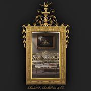 Espelho Neoclássico Elegante Dourado 3d model
