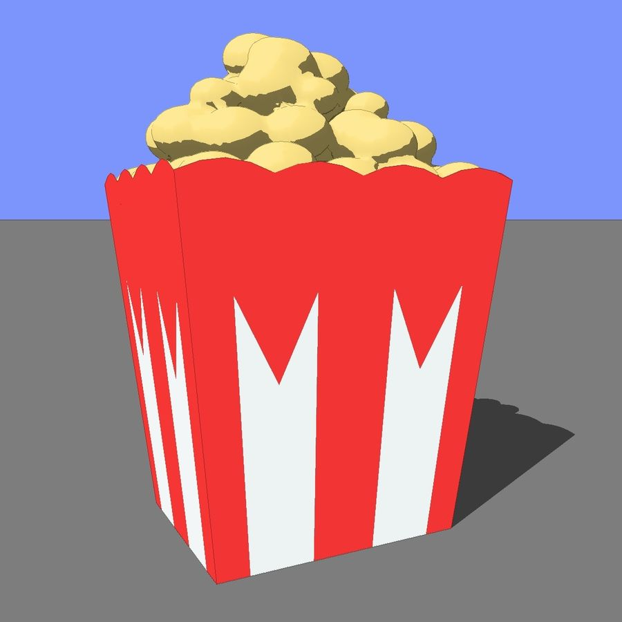 Kino Popcorn royalty-free 3d model - Preview no. 8