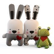 纺织玩具(野兔和青蛙)的作品 3d model