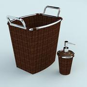 등나무 및 금속 목욕 부속품 3d model