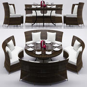 RATTAN DINNING TABLE SET 3d model