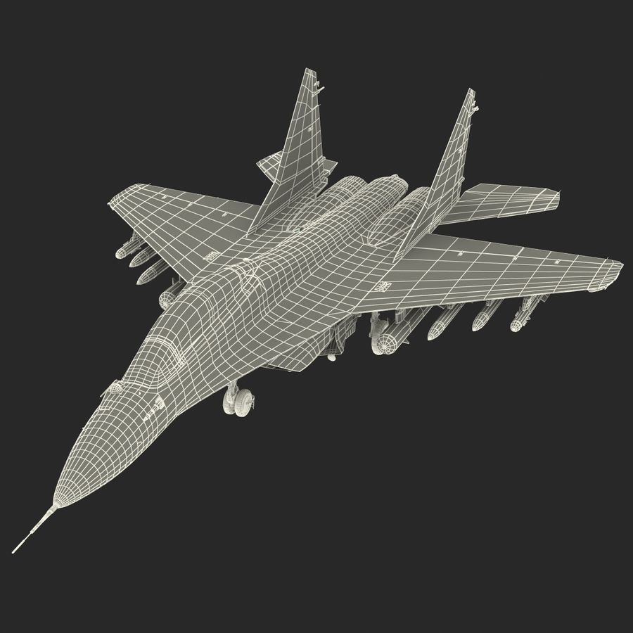Russian Jet Fighter Mikoyan MiG-35 royalty-free 3d model - Preview no. 76