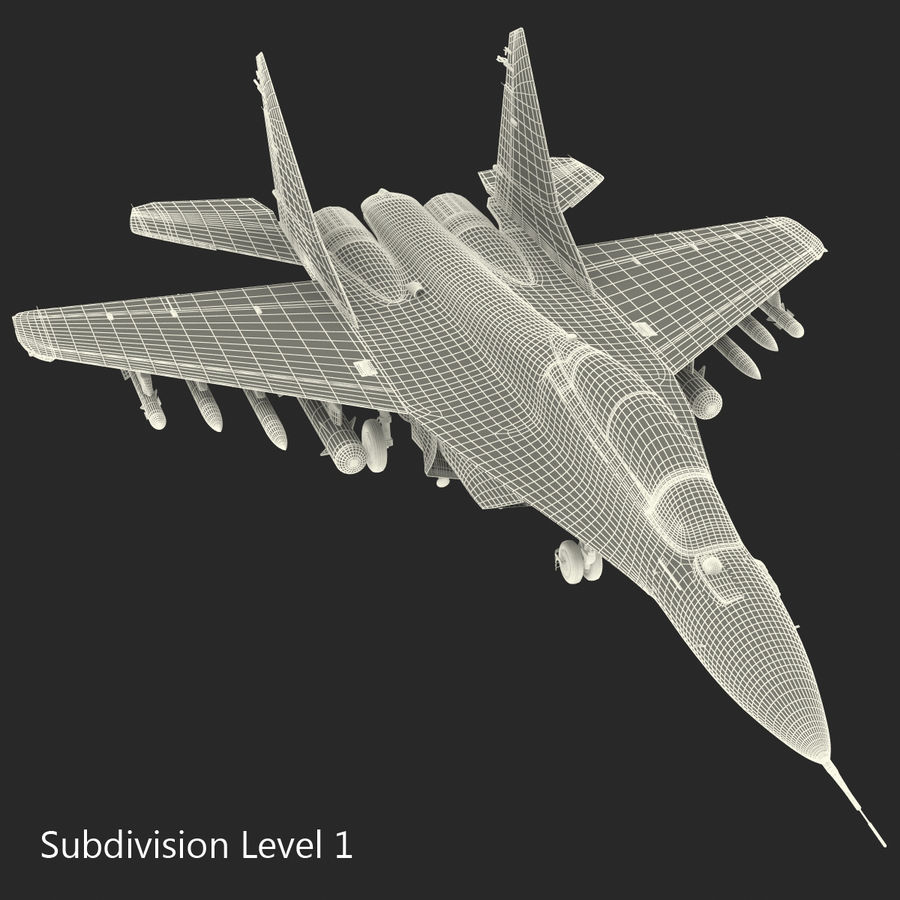 Russian Jet Fighter Mikoyan MiG-35 royalty-free 3d model - Preview no. 62