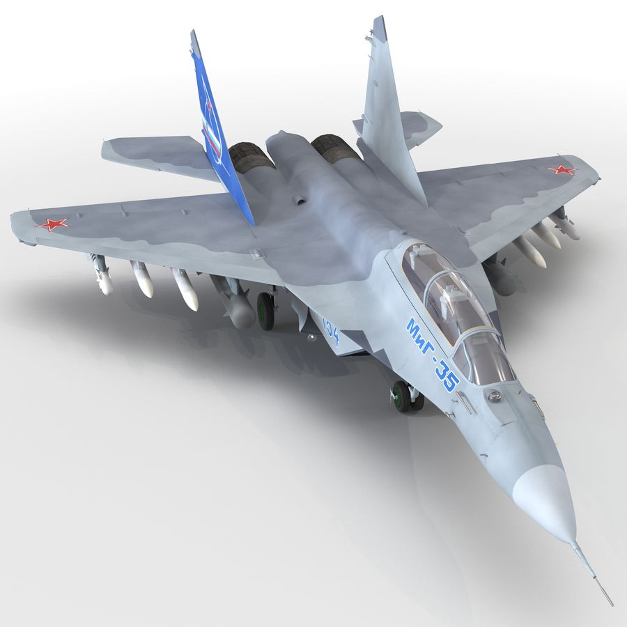 Russian Jet Fighter Mikoyan MiG-35 royalty-free 3d model - Preview no. 2