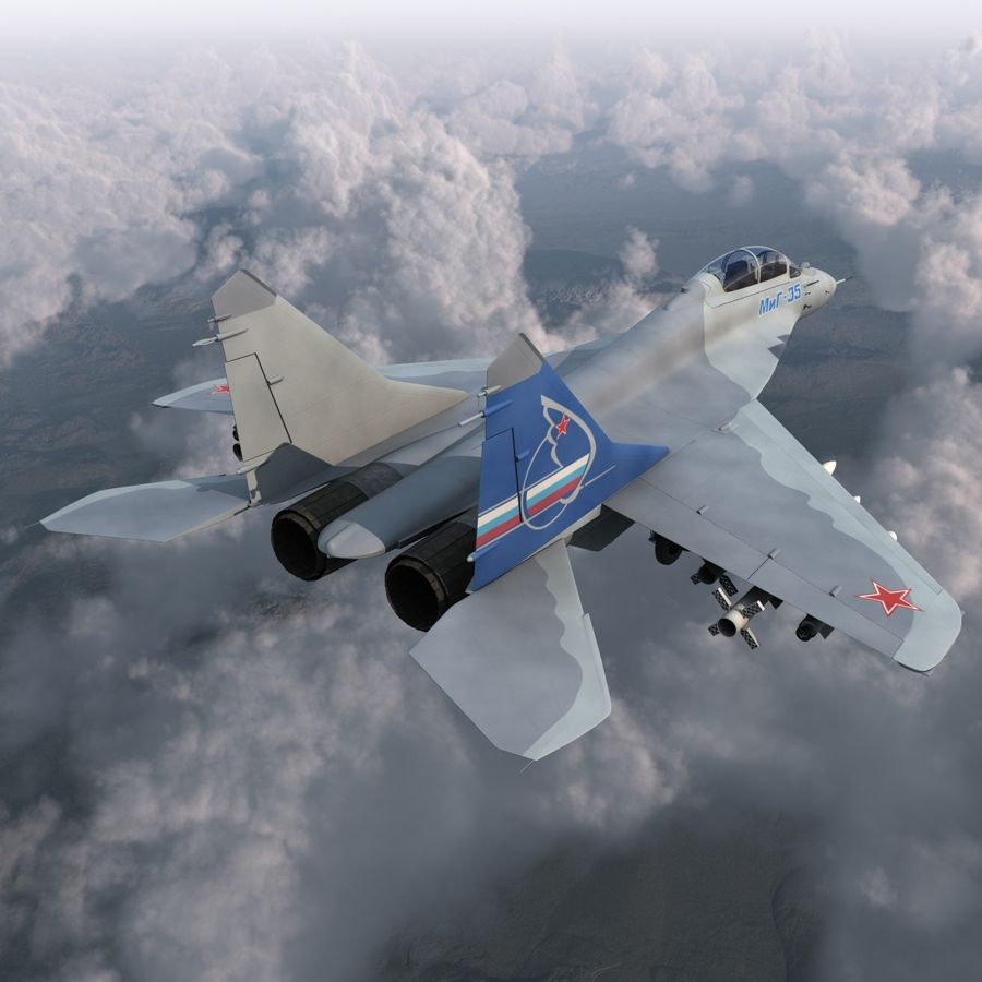 Russian Jet Fighter Mikoyan MiG-35 royalty-free 3d model - Preview no. 5
