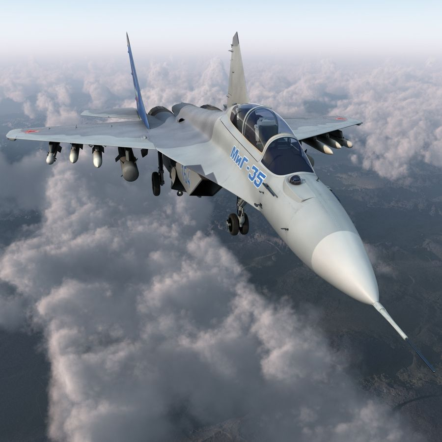 Russian Jet Fighter Mikoyan MiG-35 royalty-free 3d model - Preview no. 4