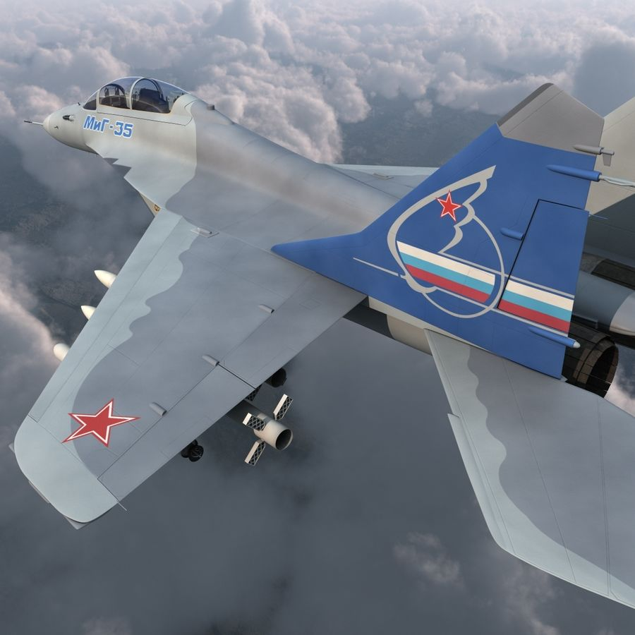 Russian Jet Fighter Mikoyan MiG-35 royalty-free 3d model - Preview no. 12