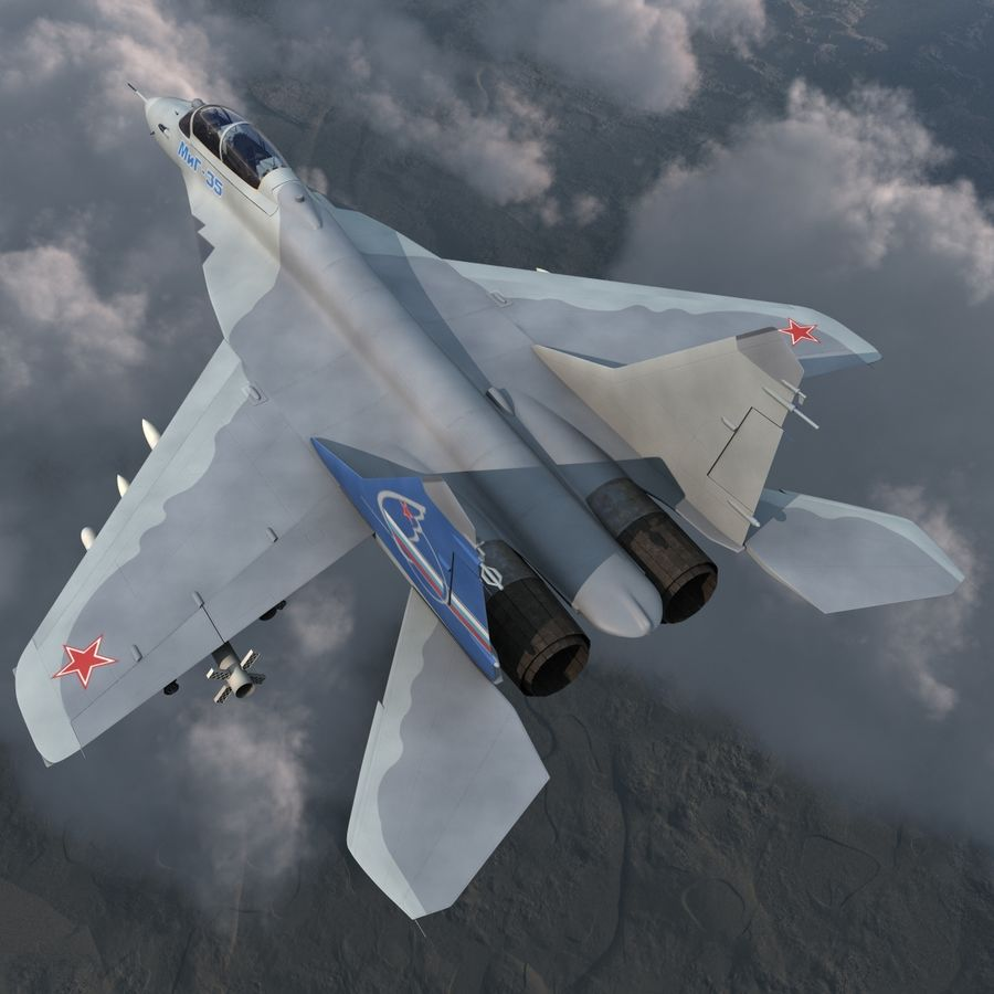 Russian Jet Fighter Mikoyan MiG-35 royalty-free 3d model - Preview no. 6