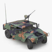 High Mobility Multipurpose Wheeled Vehicle Humvee Camo Rigged 3D Model 3d model