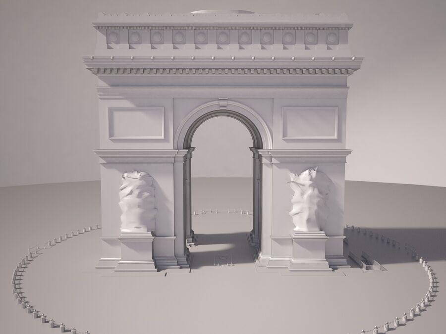 Paris Triumphal Arch royalty-free 3d model - Preview no. 11
