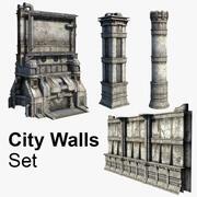 Ensemble de murs de la ville 3d model