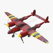 실시간 비행기 록히드 P-38 라이트닝 3d model