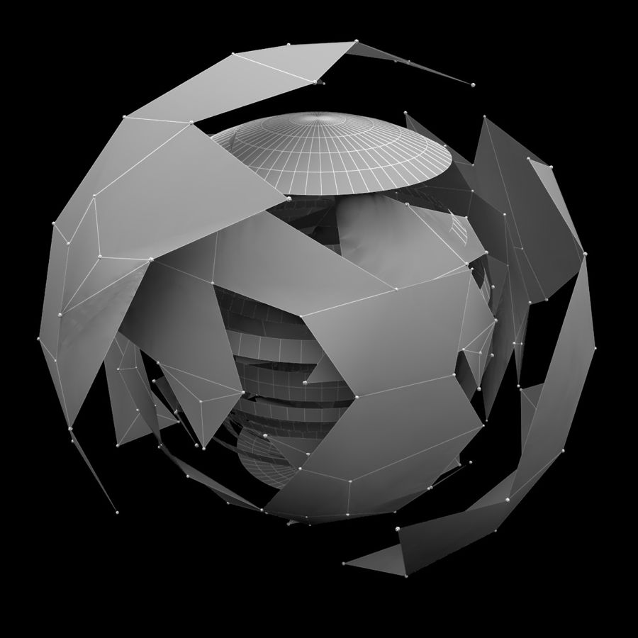 Hologramm-Planetensystem royalty-free 3d model - Preview no. 8