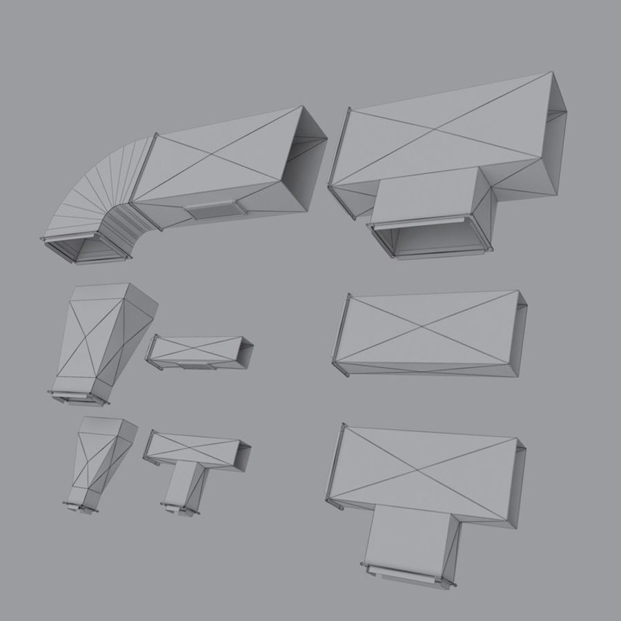 Set Air Conditioning Ducting royalty-free 3d model - Preview no. 9
