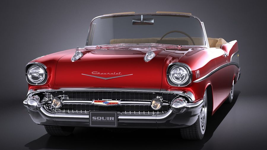 Chevrolet Bel Air Convertible 1957 royalty-free 3d model - Preview no. 2