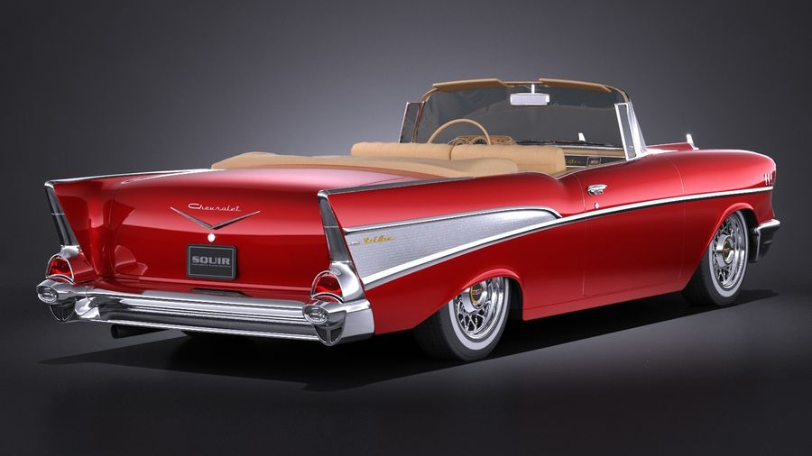Chevrolet Bel Air Convertible 1957 royalty-free 3d model - Preview no. 6