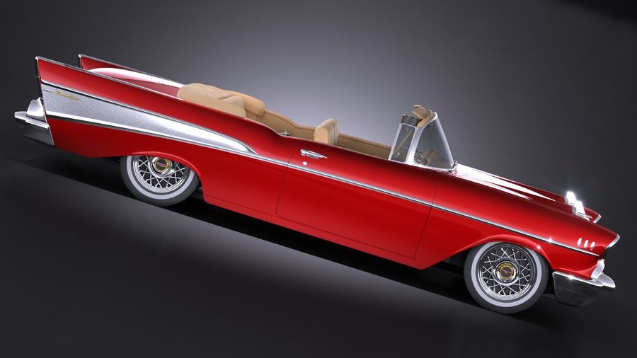 Chevrolet Bel Air Convertible 1957 royalty-free 3d model - Preview no. 7