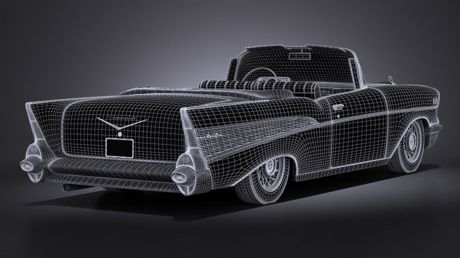 Chevrolet Bel Air Convertible 1957 royalty-free 3d model - Preview no. 17