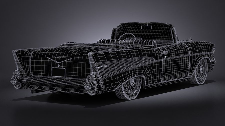Chevrolet Bel Air Convertible 1957 royalty-free 3d model - Preview no. 19