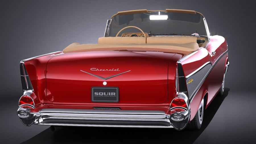 Chevrolet Bel Air Convertible 1957 royalty-free 3d model - Preview no. 5