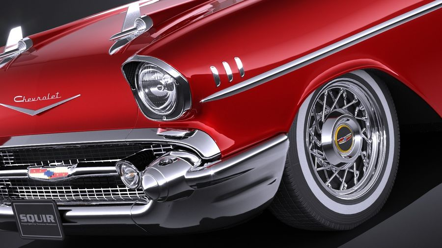 Chevrolet Bel Air Convertible 1957 royalty-free 3d model - Preview no. 3