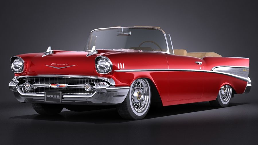 Chevrolet Bel Air Convertible 1957 royalty-free 3d model - Preview no. 1
