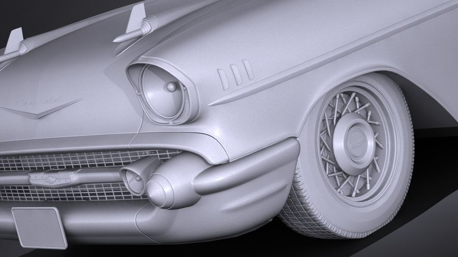 Chevrolet Bel Air Convertible 1957 royalty-free 3d model - Preview no. 13