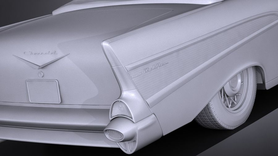 Chevrolet Bel Air Convertible 1957 royalty-free 3d model - Preview no. 14