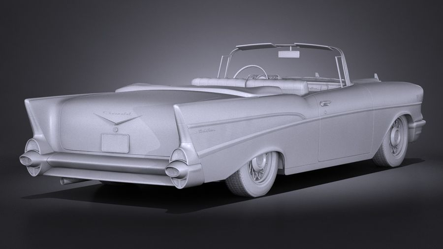 Chevrolet Bel Air Convertible 1957 royalty-free 3d model - Preview no. 15