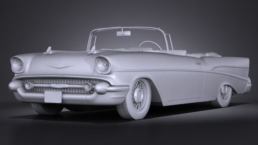 Chevrolet Bel Air Convertible 1957 royalty-free 3d model - Preview no. 12