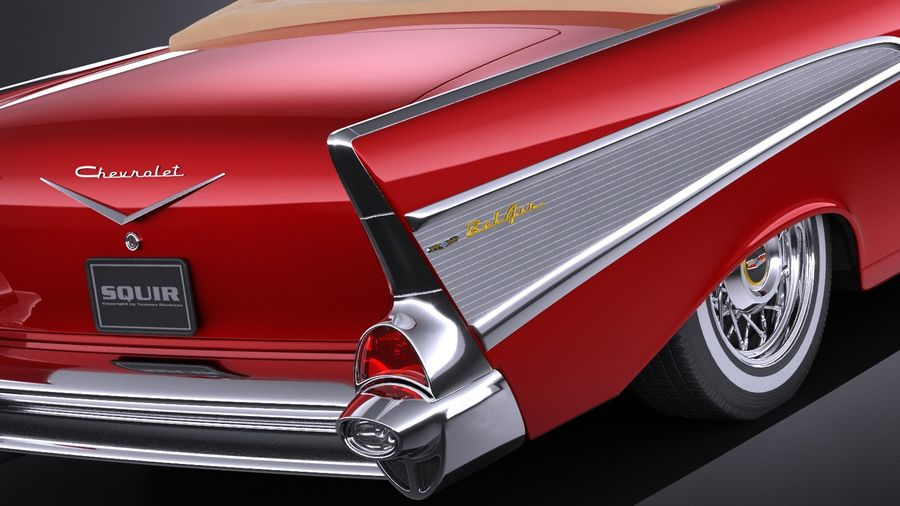 Chevrolet Bel Air Convertible 1957 royalty-free 3d model - Preview no. 4