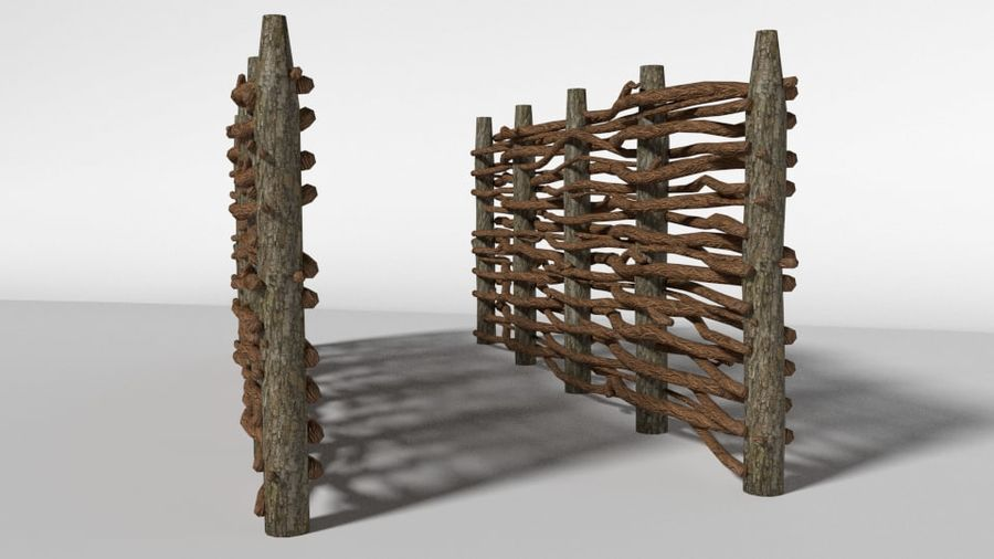 wooden fence royalty-free 3d model - Preview no. 3