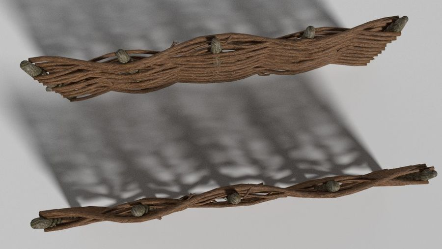 wooden fence royalty-free 3d model - Preview no. 2
