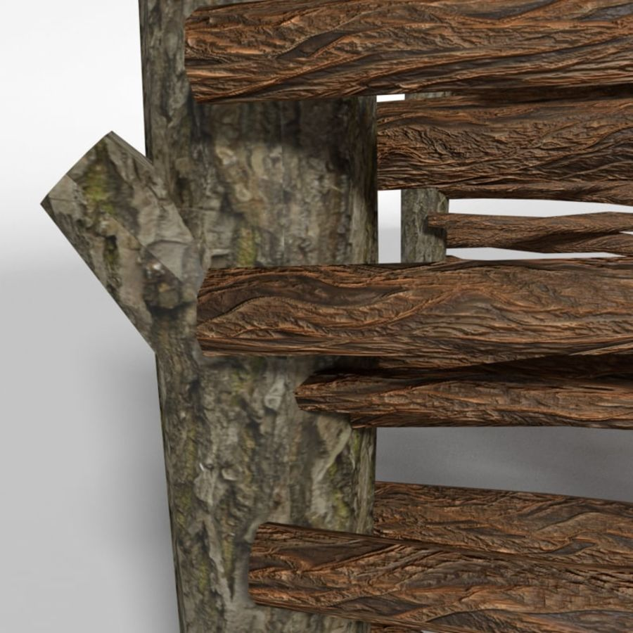 wooden fence royalty-free 3d model - Preview no. 5