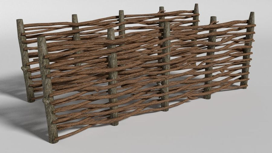 wooden fence royalty-free 3d model - Preview no. 1