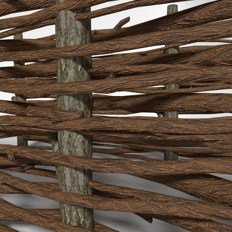 cerca de madeira royalty-free 3d model - Preview no. 4