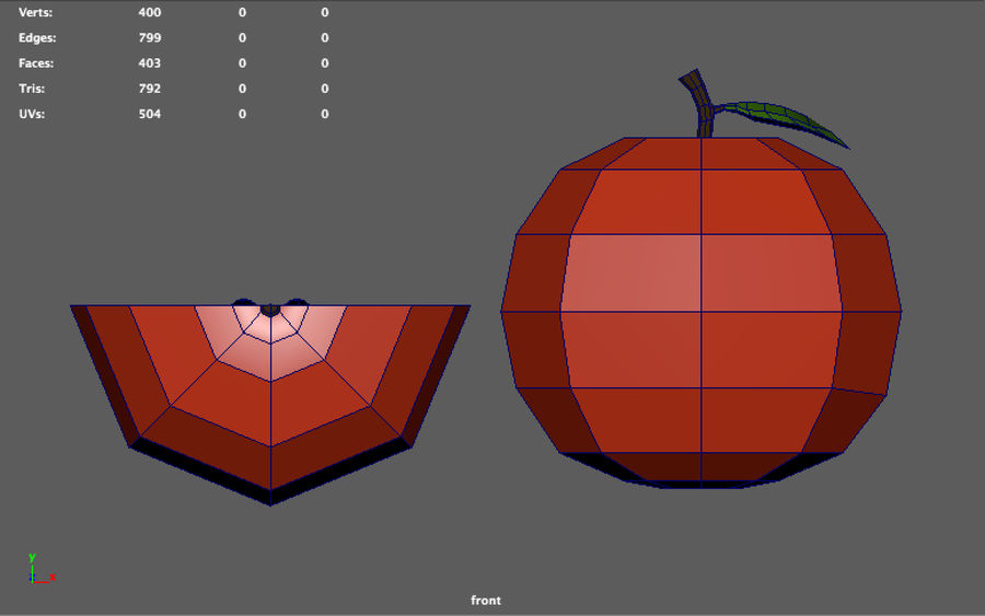 low poly apple (gra gotowa) royalty-free 3d model - Preview no. 6