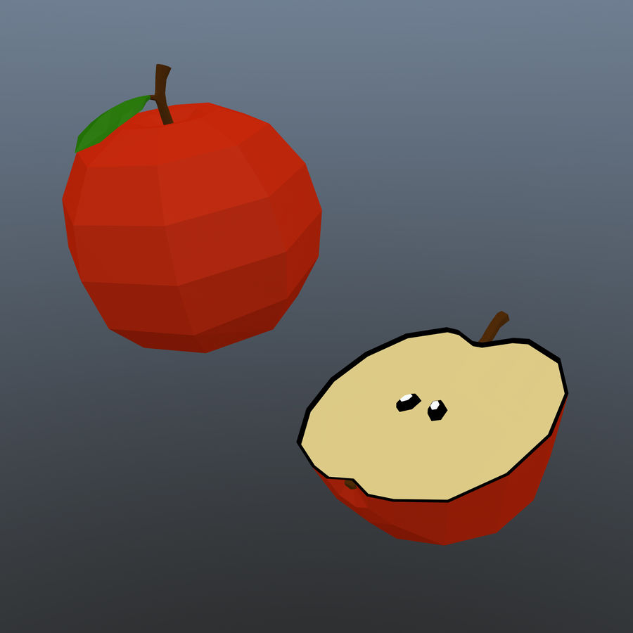 low poly apple (gra gotowa) royalty-free 3d model - Preview no. 3