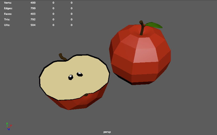 low poly apple (gra gotowa) royalty-free 3d model - Preview no. 10