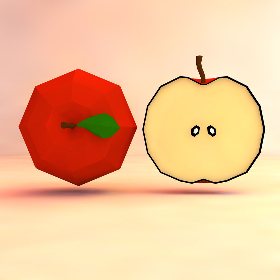 low poly apple (gra gotowa) royalty-free 3d model - Preview no. 4