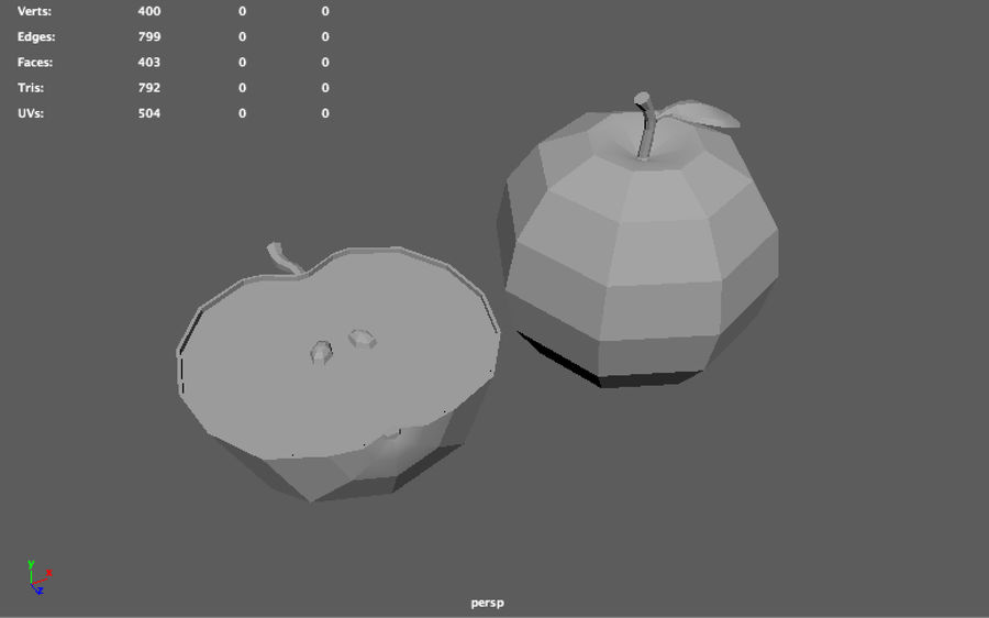 low poly apple (gra gotowa) royalty-free 3d model - Preview no. 9
