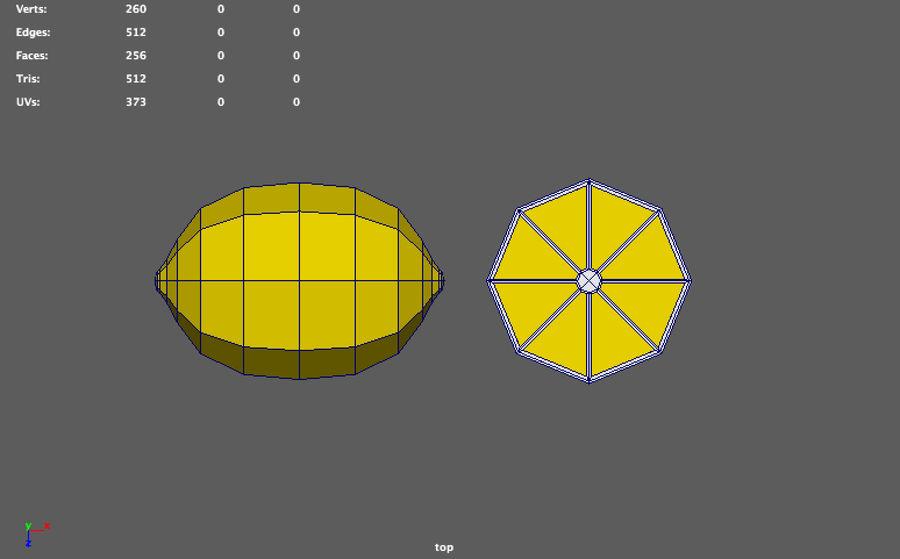 низкополигональная лимон (игра готова) royalty-free 3d model - Preview no. 5