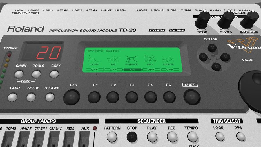 Electronic Drum Kit: Roland V-Drums TD20 royalty-free 3d model - Preview no. 32