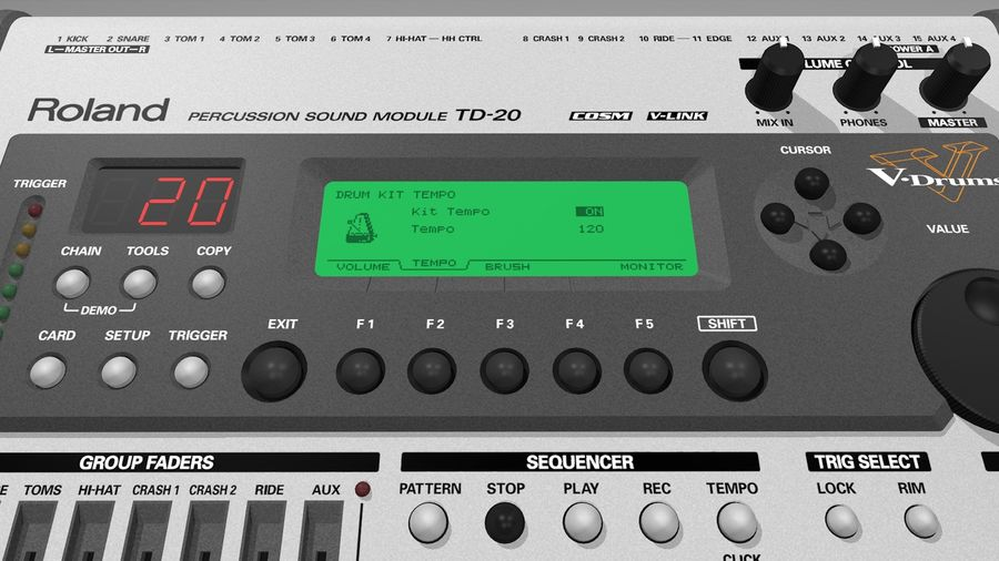 Electronic Drum Kit: Roland V-Drums TD20 royalty-free 3d model - Preview no. 40