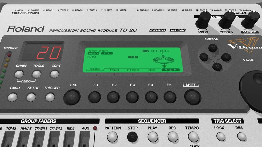 Electronic Drum Kit: Roland V-Drums TD20 royalty-free 3d model - Preview no. 37