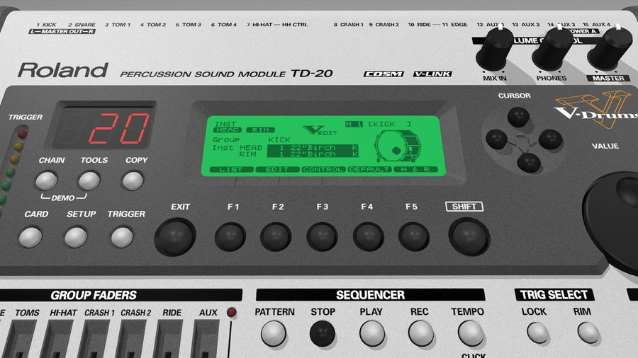 Electronic Drum Kit: Roland V-Drums TD20 royalty-free 3d model - Preview no. 34